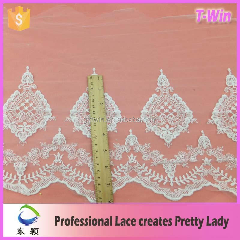 2016 Floral Korean Lace Trim White Chantilly lace fabric for voile bridal wear