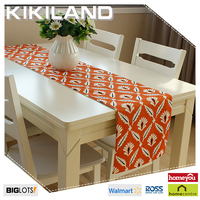 fake linen for orange flower printing wholesale table runners