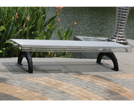 (FS61) Public Street Stainless Steel Outdoor Backless Benches