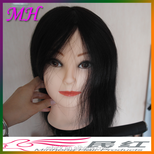 Big Bust Female Mannequin 100% Real Human Hair Black Hair Mannequin Heads African American Mannequin Head for Hair Schools