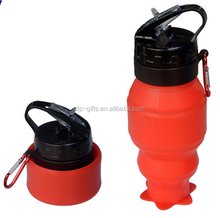 530ml Silicone Foldable Sport Bottles with leak-resistant push-pull lid & carabiner