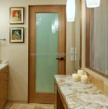Uniqdoor interior white wood frame bathroom glass door design