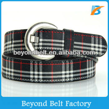 Boys' Casual Jeans' Leather Belt with Checker Fabric Inlay