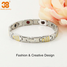 China supplier bracelet titanium magnetic jewelry gold plated