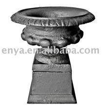 metal pot on base, decorative small flower pot on pedestal