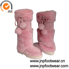 Canadian pink fur winter boots for women with pom