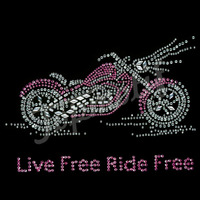 Live Free Ride Free Motorcycle Custom Rhinestone Motif for T-shirts