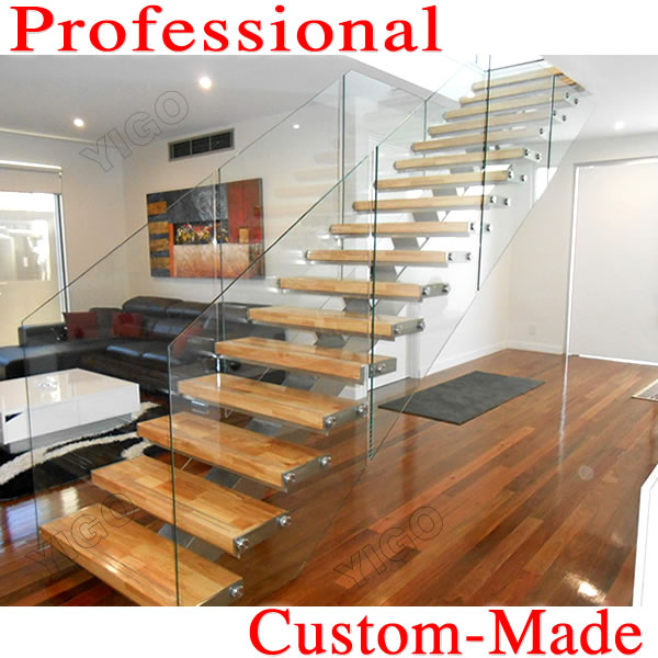 oak stair stringers/stailess steel stairs