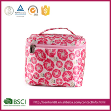 fashion wholesale pink Support custom logo glazed PU makeup box bag or beauty case cosmetic boxes