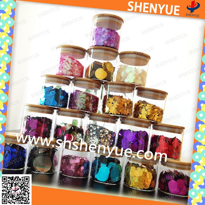 colored metalized pet glitter powder chirstmas pet flakes buyer different shape wedding sequin