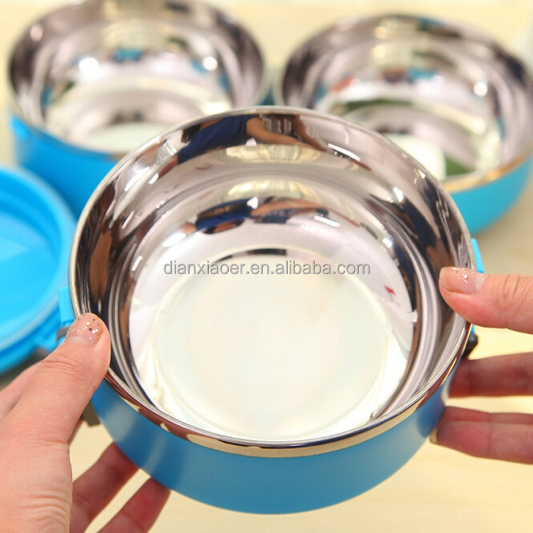 Stainless steel thermal insulated lunchboxes circular shape lunch box