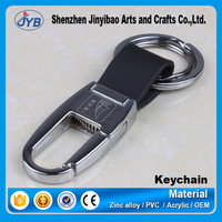 Custom Cheap Embossed Leather Metal Keychain Keyring