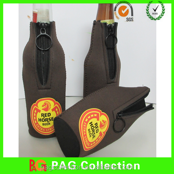 Neoprene Zip Stubby Bottle Holder / Single Beer Bottle Cooler