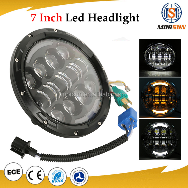 "2016 New 7 inch 80w round jeep wrangler jk led headlight 7"" moto led projector headlamp"