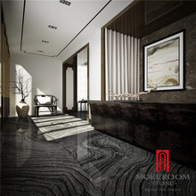 Discontinued Ancient Wood Vein Black Marble Look Porcelain and Ceramic Tile for Flooring Design