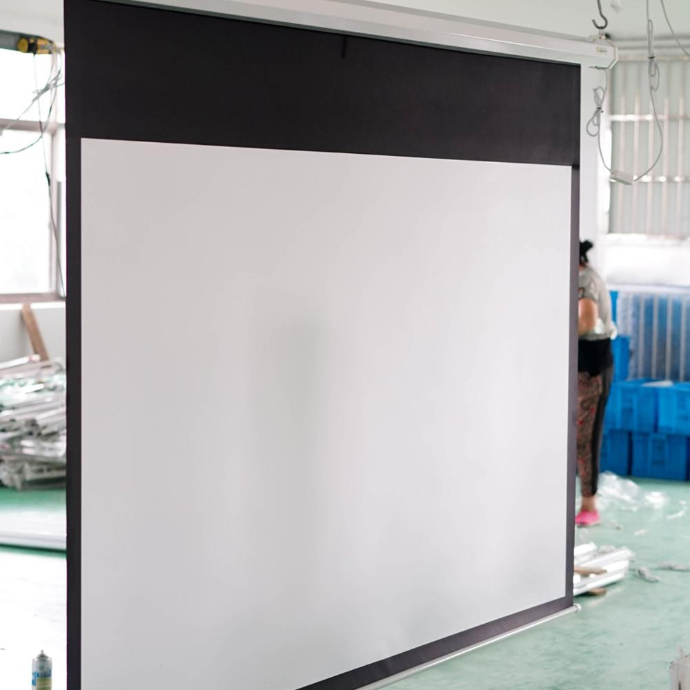 white plastic 150 inch projection screen motorized projector screen