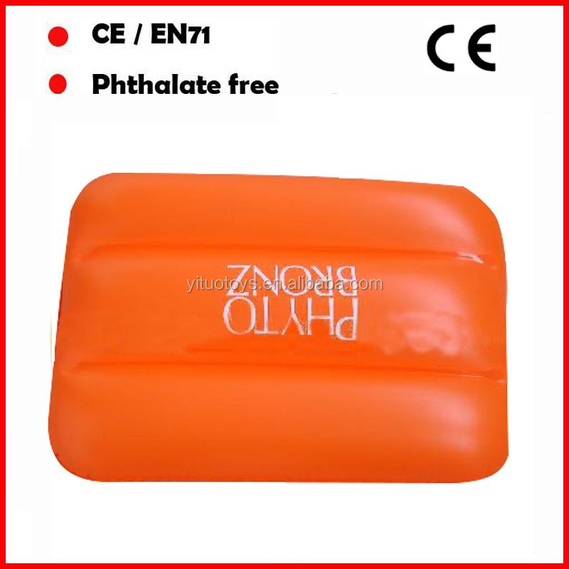 Cheap OEM logo printed phthalate free PVC inflatable beach pillow
