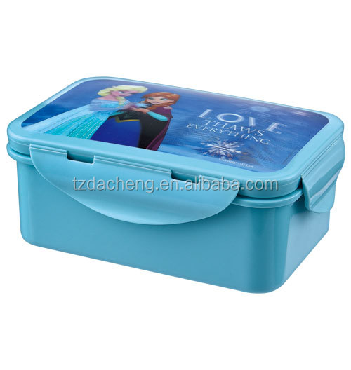 BPA 3d Lenticular plastic preservation lunch boxes with LFGB silicone for kids