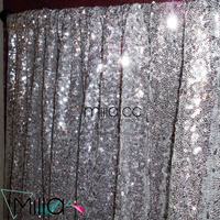 Custom Made Silver Shiny Sequin Christmas Party Wedding Curtains Backdrop