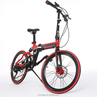 2017 new design bike 20 inch high quality green city folding bike full suspension system bicycle