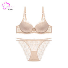 Sexy girl wear soft push-up lace bra set