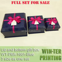 WT-PBX-1661-Blue Luxury dark blue rigid gift box with bowknot for sale