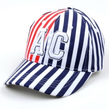 Cheap white and red stripe cotton fabric baseball cap