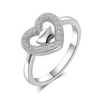 Top Quality Free Shipping Heart-shaped 100% Sterling Silver Jewelry Lovely Female Models Ring Romantic Silver Ring