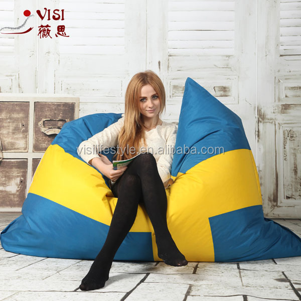Rectangle Sweden flag printing fatboy beanbag/beans bag sofa outdoor
