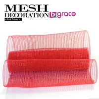 "plastic deco mesh netting red with red metallic thread 21"" x 10 yards roll"
