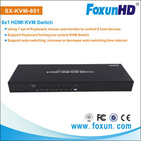 8 USB Ports to 1 Display HDMI KVM Switch support auto switching SX-KVM801 support keyboard to control KVM swtich