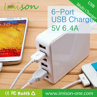 6 port USB charger for smart phone fast electrical universal multi-port charger