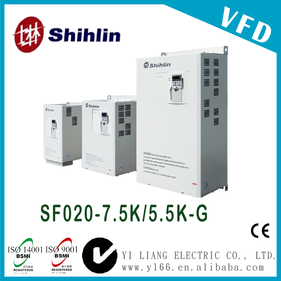 SF020-7.5K/5.5K-G 10HP Taiwan three phase dual-load high performance vector control inverter vfd