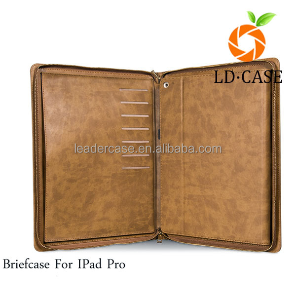 for IPad Pro 12.9 inch leather briefcase factory made multifunction PU tablet case for ipad 2/3/4/air