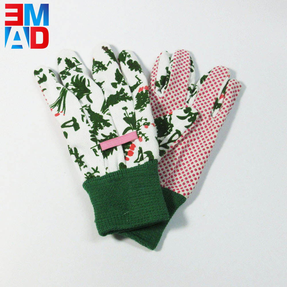 Floral finishing PVC dot garden no slip gloves