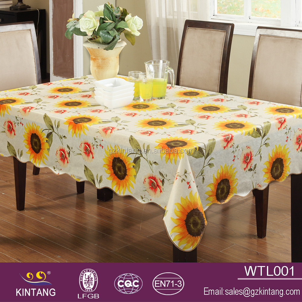 2016 new design non woving wave edge tablecloth with sunflowers pattern