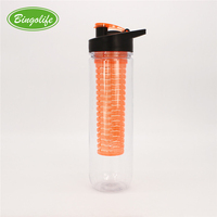 700ml Large Capacity Creative Multi Color Filter Screen Transparent Plastic Kids Fruit Water Bottle