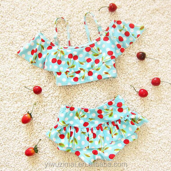 New Arrival Children Cherry Printed Beachwear Two Piece Cute Toddler Swimwear For Kids Models