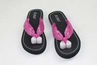 ladies cloth upper fashion sandals and out door Use cheap EVA wholesale flip flops