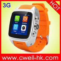 MTK6572 android 4.4.2 smart watch android dual sim 3G watch phone in Shenzhen factory WCDMA