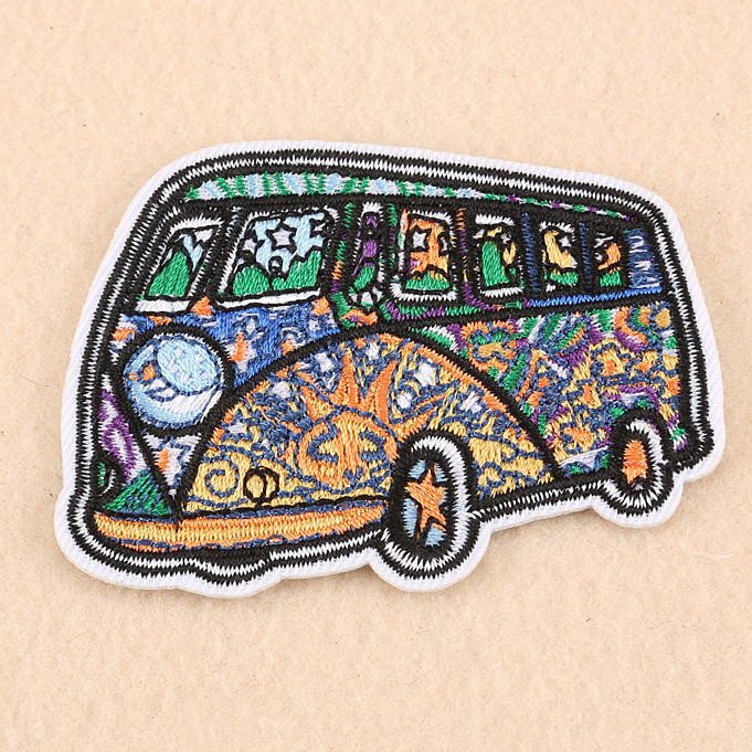 Bus Embroidered Patch for Clothing Iron on Sew Applique Cute Fabric Clothes Shoes Bags Decoration Patches P723-8
