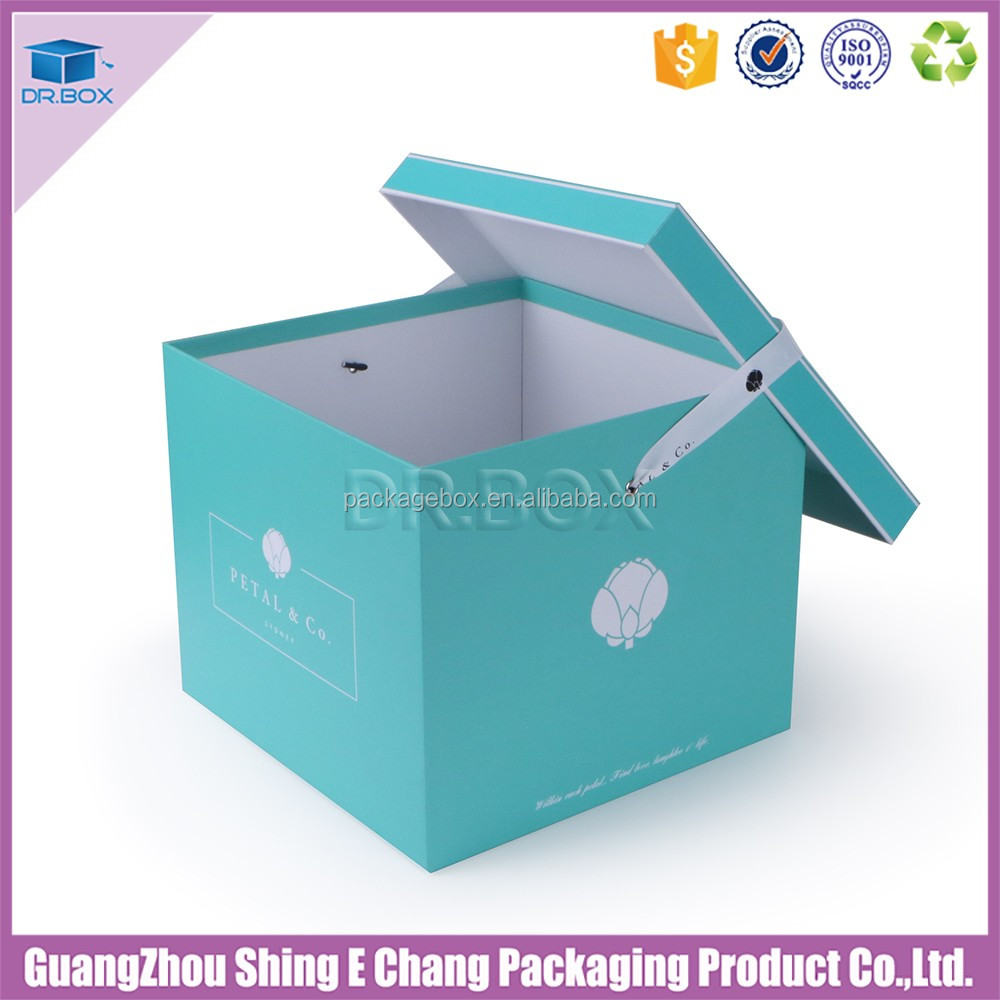 Tiffany color square shape paper flowers box with embross logo/ribbion for rose flower packaging