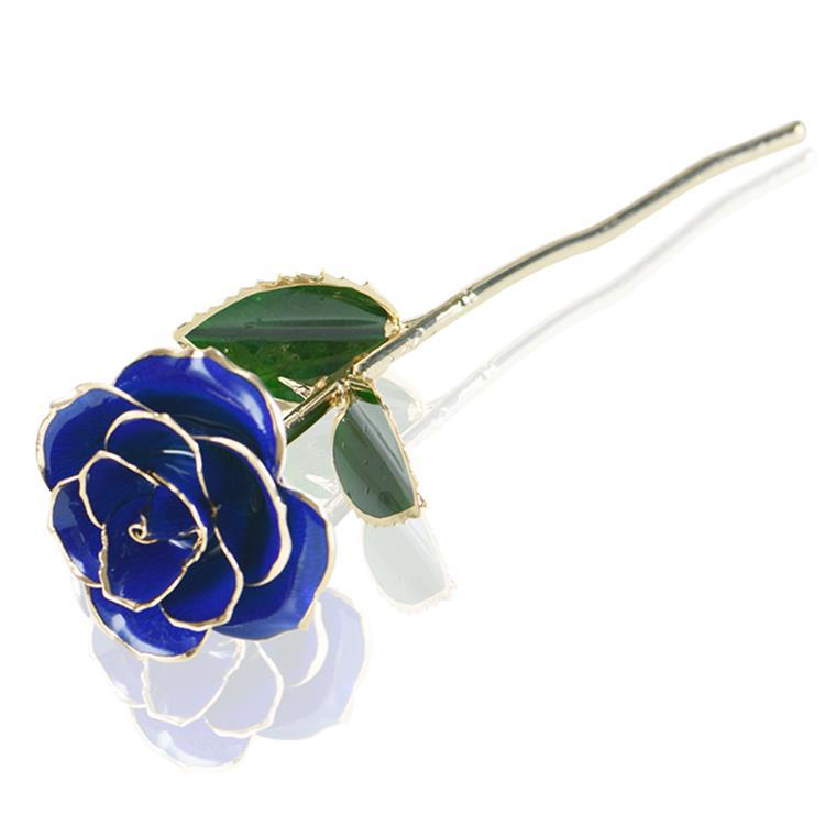 Luxury blue rose flower with gift box dipped 24k gold flower for Valentines Day gift