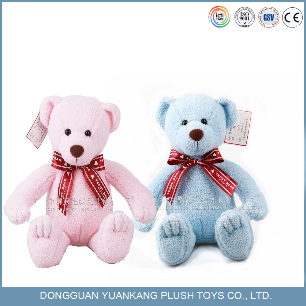 Custom plush blue and pink color teddy bear