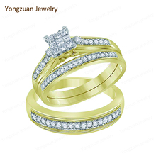 Unique Gift for Lover Fashion Design Custom 18 Karat Gold Jewelry Couple Eternity Wedding Engagement Finger Diamond Rings