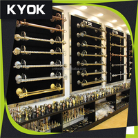 KYOK metal curtain rod curtain accessory, extendable dual curtain rod brackets, round base aluminum curtain rod bracket