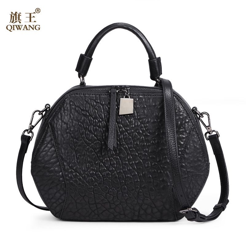 QIWANG Designer Brand New Style Women Leather Bag Fashion Round Party Bags Elegant Bag Satchel Black <strong>Handbag</strong>