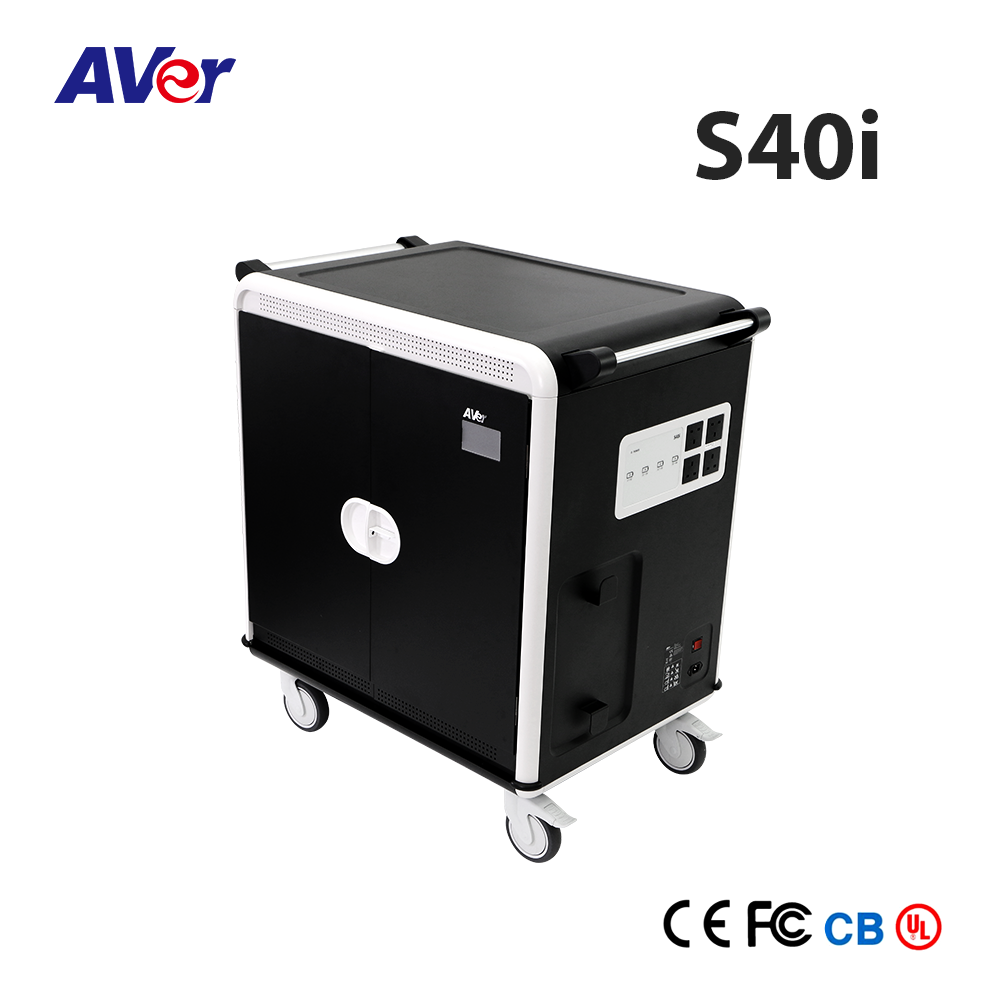 Charge Cart, AVer S40i Charge Cart, 40 AC-SYNC Student Education Device Storage Smart Classroom Charge Cart