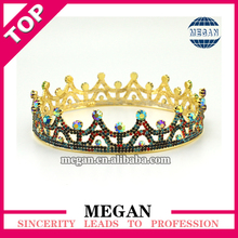 Round full jewelry rhinestone hair crowm wedding cake topper bride tiara wholesale