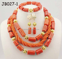 JB027-1 Nigerian Wedding African Beads Jewelry Set 3 Layers African Costume Jewelry Sets red coral Beads